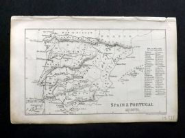 Cornwell & Dower 1849 Antique Map. Spain & Portugal